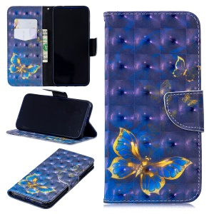 Pattern Printing Light Spot Decor Leather Wallet Case for Xiaomi Redmi Note 7 / Note 7 Pro (India) - Blue Butterfly