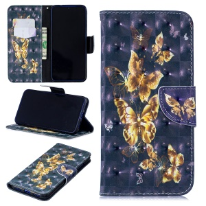 Pattern Printing Light Spot Decor Leather Wallet Case for Xiaomi Redmi Note 7 / Note 7 Pro (India) - Flying Butterfly