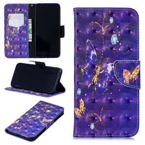Pattern Printing Light Spot Decor Leather Wallet Case for Xiaomi Redmi Note 7 / Note 7 Pro (India) - Vivid Butterfly