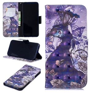 Pattern Printing Light Spot Decor Leather Wallet Case for Xiaomi Redmi Note 7 / Note 7 Pro (India) - Peacock