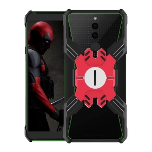 Heroes Series Bumper Frame for Xiaomi Black Shark 2 [X-Shaped] Electroplating Metal Bumper Casing with Kickstand - Red / Black