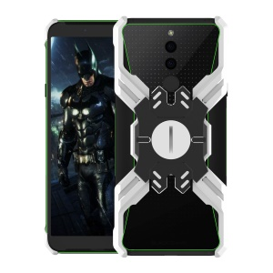 Heroes Series Bumper Frame for Xiaomi Black Shark 2 [X-Shaped] Electroplating Metal Bumper Casing with Kickstand - Black / Silver