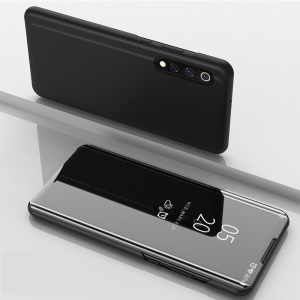 View Window Plated Mirror Surface Leather Stand Case for Xiaomi Mi 9 - Black