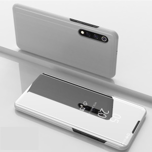 View Window Plated Mirror Surface Leather Stand Case for Xiaomi Mi 9 - Silver