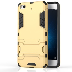 Solid PC + TPU Hybrid Case Cover with Kickstand for Xiaomi Mi 5s - Gold