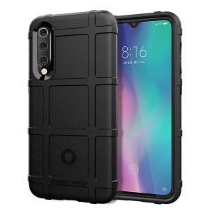 For Xiaomi Mi 9 SE Rugged Square Grid Texture Soft TPU Anti-shock Mobile Cover - Black