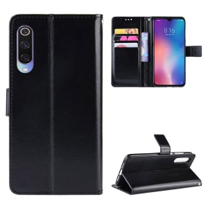 Crazy Horse Wallet Leather Protection Case for Xiaomi Mi 9 - Black