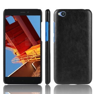 Litchi Skin Leather Coated Hard PC Case for Xiaomi Redmi Go - Black