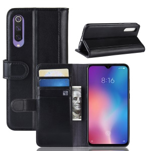 Split Leather Phone Shell with Card Slots for Xiaomi Mi 9 SE - Black