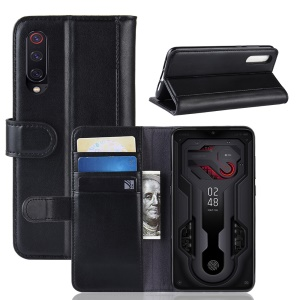 Split Leather Phone Shell with Card Slots for Xiaomi Mi 9/Mi 9 Explore - Black
