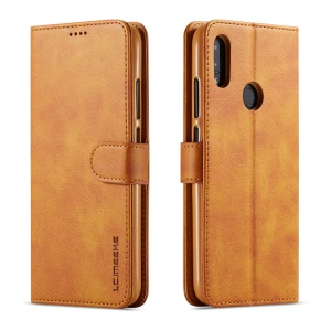 LC.IMEEKE Leather Wallet Stand Case for Xiaomi Redmi Note 7S / Note 7 / Note 7 Pro (India) - Brown