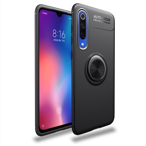 LENUO Metal Ring Kickstand TPU Case for Xiaomi Mi 9 SE Built-in Magnetic Metal Sheet - All Black