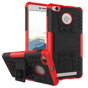 Anti-slip PC + TPU Hybrid Shell with Kickstand for Xiaomi Redmi 3s - Red
