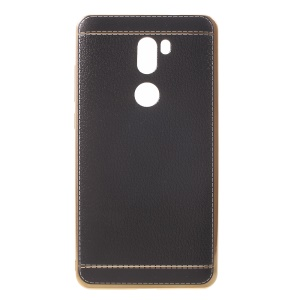 Lychee Grain Leather Coated Plating TPU Case for Xiaomi Mi 5s Plus - Black