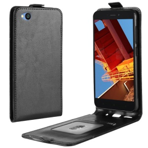 Crazy Horse Vertical Flip Leather Protective Case for Xiaomi Redmi Go - Black