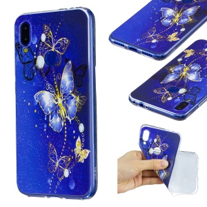 Pattern Printing Soft TPU Case for Xiaomi Redmi Note 7S / Note 7 / Note 7 Pro (India)- Blue Butterfly