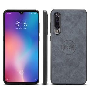 PU Leather Coated TPU Phone Case for Xiaomi Mi 9 (Built-in Magnetic Holder Metal Sheet) - Grey