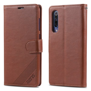 AZNS Leather Wallet Case for Xiaomi Mi 9 SE - Brown