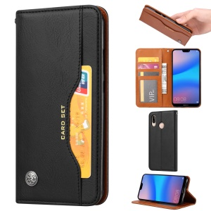 PU Leather Auto-absorbed Stand Wallet Protective Case for Xiaomi Redmi 7 / Redmi Y3 - Black