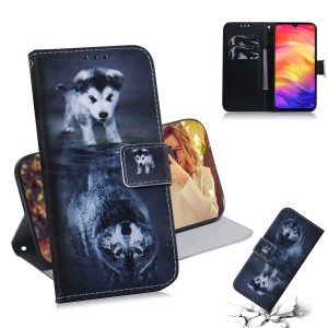 Pattern Printing Wallet Leather Cell Phone Case for Xiaomi Redmi Note 7S / Note 7 - Dog