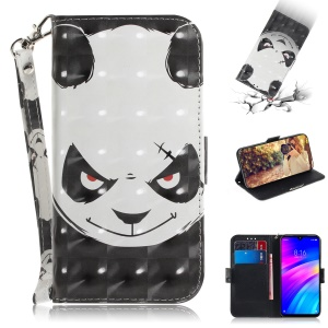 Light Spot Decor Patterned Wallet Stand PU Leather Phone Case for Xiaomi Redmi 7 / Redmi Y3 - Angry Panda