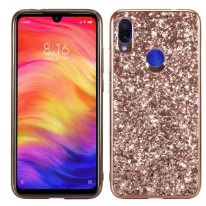 Glittery PC+TPU Protective Mobile Phone Case for Xiaomi Redmi Note 7S / Note 7 / Note 7 Pro (India) - Rose Gold