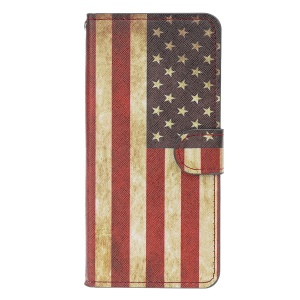 Pattern Printing Leather Wallet Case for Xiaomi Mi 9 - Retro American Flag