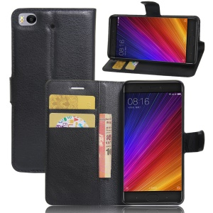 Litchi Texture Wallet Stand Leather Case for Xiaomi Mi 5s - Black