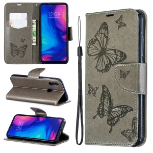 For Xiaomi Redmi Note 7S / Note 7 /Note 7 Pro (India) PU Leather Imprint Butterflies Phone Case - Grey