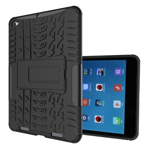 Tyre Pattern PC + TPU Hybrid Case for Xiaomi Mi Pad 2 7.9-inch with Kickstand - Black