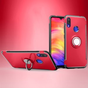 Carbon Fiber Texture TPU PC Hybrid Phone Cover Case with Magnetic Ring Holder for Xiaomi Redmi Note 7S / Note 7/Note 7 Pro (India) - Red