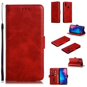 Leather Wallet Stand Case for Xiaomi Redmi Note 7S / Note 7 / Note 7 Pro (India) - Red