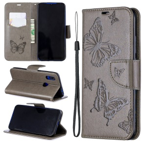 Imprint Butterfly Leather Wallet Case for Xiaomi Redmi 7 / Redmi Y3 - Grey