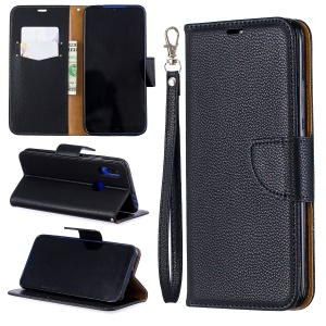Litchi Skin Leather Wallet Case for Xiaomi Redmi 7 / Redmi Y3 - Black