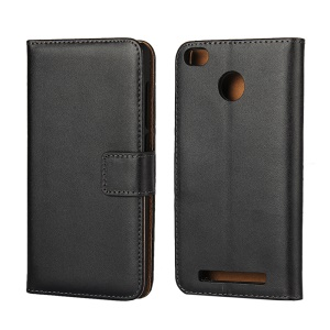 Genuine Split Leather Wallet Phone Case with Stand for Xiaomi Redmi 3s - Black
