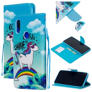 Pattern Printing PU Leather Magnetic Wallet Stand Protective Shell for Xiaomi Redmi 7 / Redmi Y3 - Unicorn on Rainbow