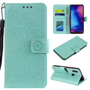 Imprint Mandala Pattern Wallet Stand Leather Flip Case for Xiaomi Redmi Note 7S / Note 7 / Note 7 Pro (India) - Cyan