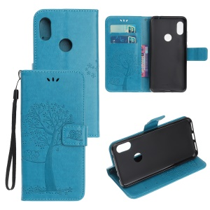 Imprint Tree Owl Wallet Stand Leather Flip Phone Case for Xiaomi Redmi Note 7S / Note 7 / Note 7 Pro (India) - Blue