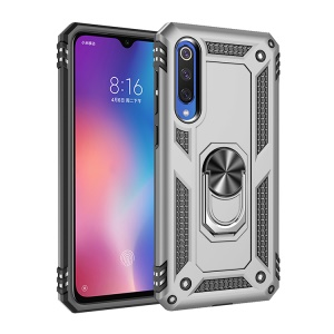 Hybrid PC TPU Kickstand Armor Phone Shell for Xiaomi Mi 9 SE - Silver