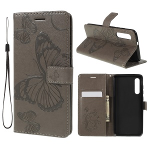 Imprint Butterfly Leather Wallet with Stand Phone Shell for Xiaomi Mi 9 SE - Grey