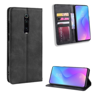Vintage Style Leather Wallet Case for Xiaomi Redmi K20 / Mi 9T / Redmi K20 Pro / Mi 9T Pro - Black