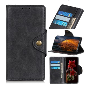 Brass Buckle Wallet Leather Stand Casing for Xiaomi Redmi K20/K20 Pro - Black