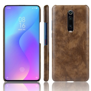 Litchi Skin Leather Coated Hard PC Case for Xiaomi Redmi K20/Redmi K20 Pro/Xiaomi Mi 9T/Xiaomi Mi 9T Pro - Brown