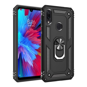 360 Degree Rotatable Ring Kickstand Armor PC+TPU Phone Cover for Xiaomi Redmi Note 7 / Note 7S / Note 7 Pro (India) - Black