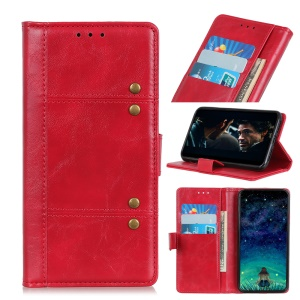 Rivet Decorated Leather Stand Wallet Magnetic Case for Xiaomi Redmi 7A - Red