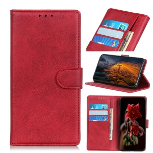 Matte Skin Wallet Leather Stand Case for Xiaomi Redmi 7A - Red