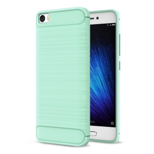 Brushed Carbon Fiber TPU Cell Phone Cover for Xiaomi Mi 5 - Cyan