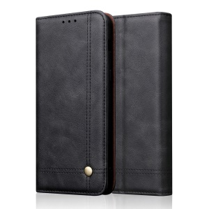 Auto-absorbed Crazy Horse Texture Vintage Leather Stand Phone Cover for Xiaomi Redmi 7A - Black