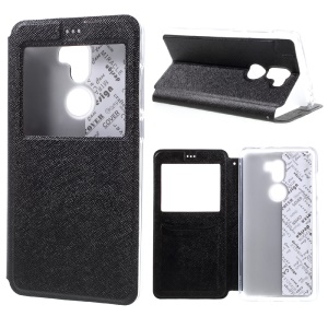 Cross Texture Window Leather Stand Card Slot Case for Xiaomi Mi 5s Plus - Black