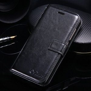 Crazy Horse Leather Wallet Stand Phone Case for Xiaomi Redmi 3s / 3 Pro - Black